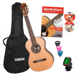 CASCHA HH2140IT CLASSICAL GUITAR 3/4 NATURAL PACK