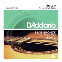 D'ADDARIO EZ920 IN BRONZO 85/15 PER CHITARRA ACUSTICA MEDIUM LIGHT 12-54