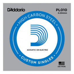 D'ADDARIO PL010 PLAIN STEEL SINGLES .010