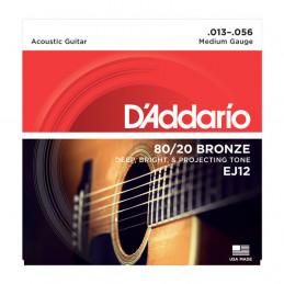 D'ADDARIO EJ12 80-12 BRONZE ACOUSTIC GUITAR STRINGS MEDIUM 13-56
