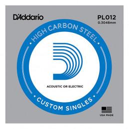 D'ADDARIO PL012 PLAIN STEEL SINGLES .012