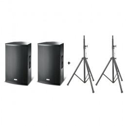 FBT COPPIA DIFFUSORI ATTIVI X-PRO 15A + COPPIA SPEAKER STAND SPS054 W/BAG