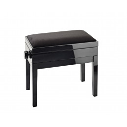 K&M  panca finitura nera lucida, seduta velluto nero Panca per pianoforte con contenitore per spartiti